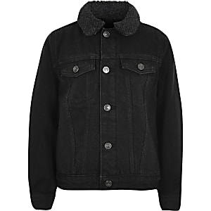 Boys black wash borg lined denim jacket