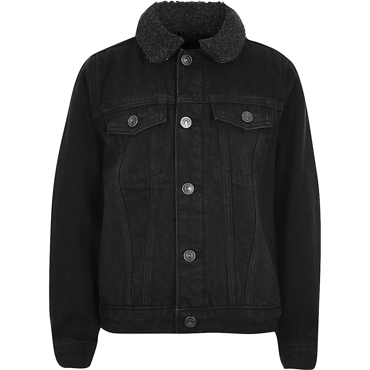 Boys black wash borg lined denim jacket