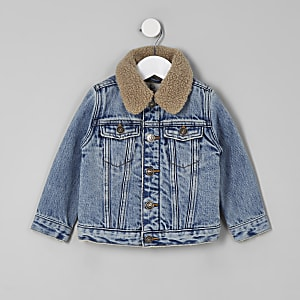 Mini boys blue fleece collar denim jacket