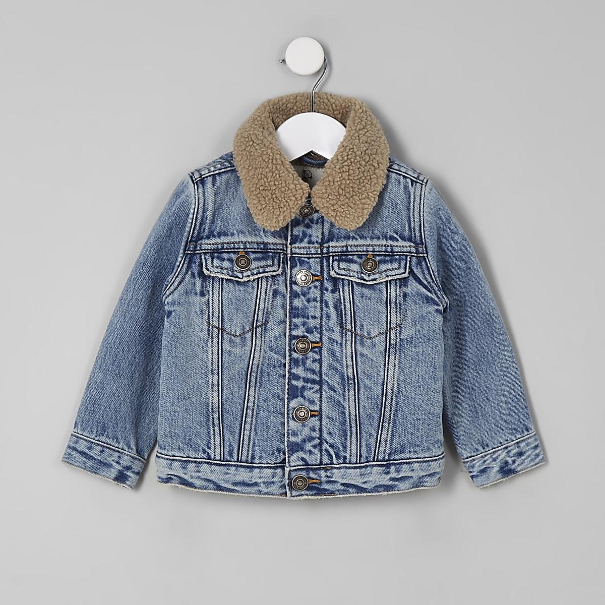 Mini boys blue fleece collar denim jacket
