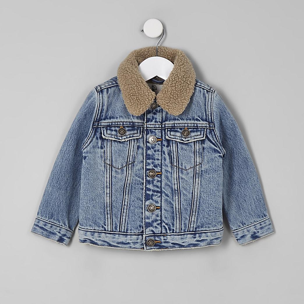 Mini boys blue borg collar denim jacket