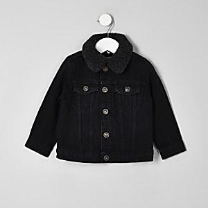 Veste en denim délavage noir avec doublure imitation mouton mini garçon