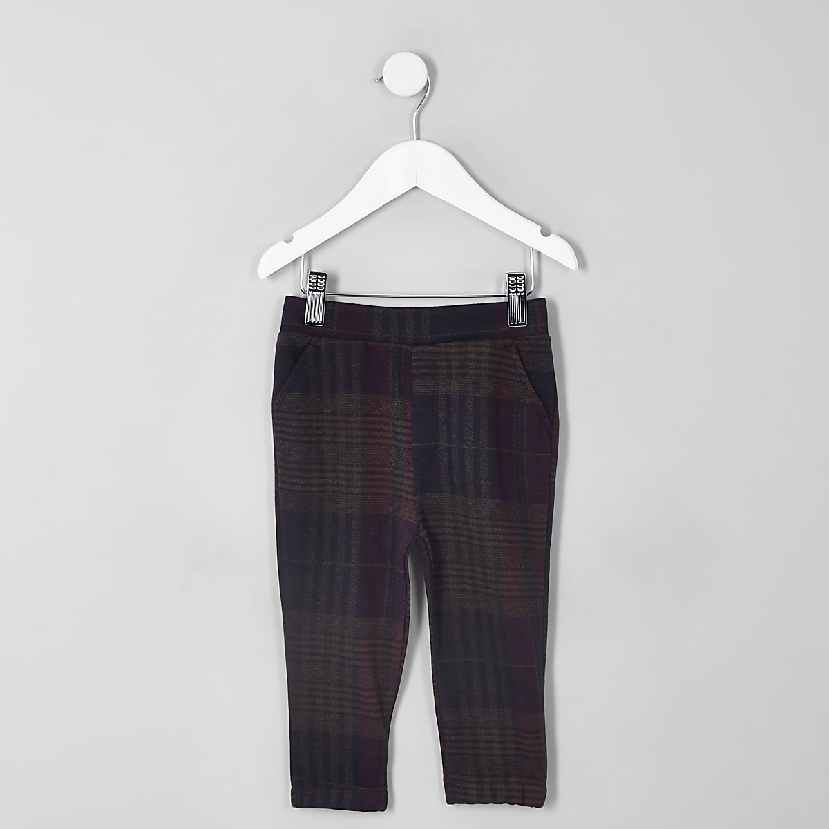Mini boys purple check pants