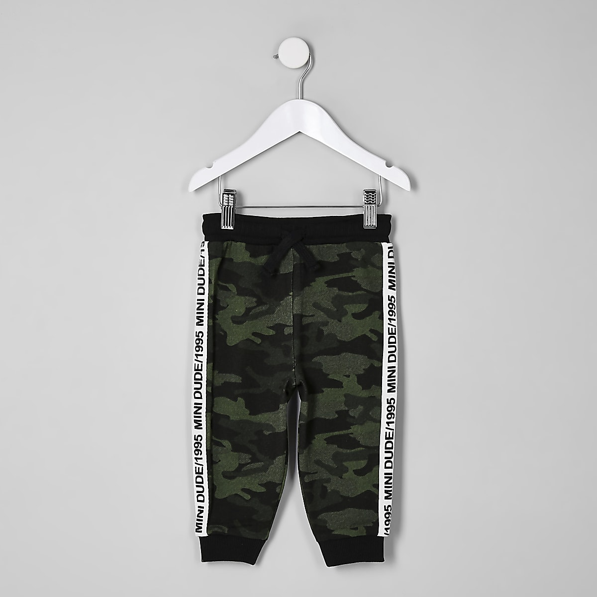 Mini boys khaki green camo side tape joggers