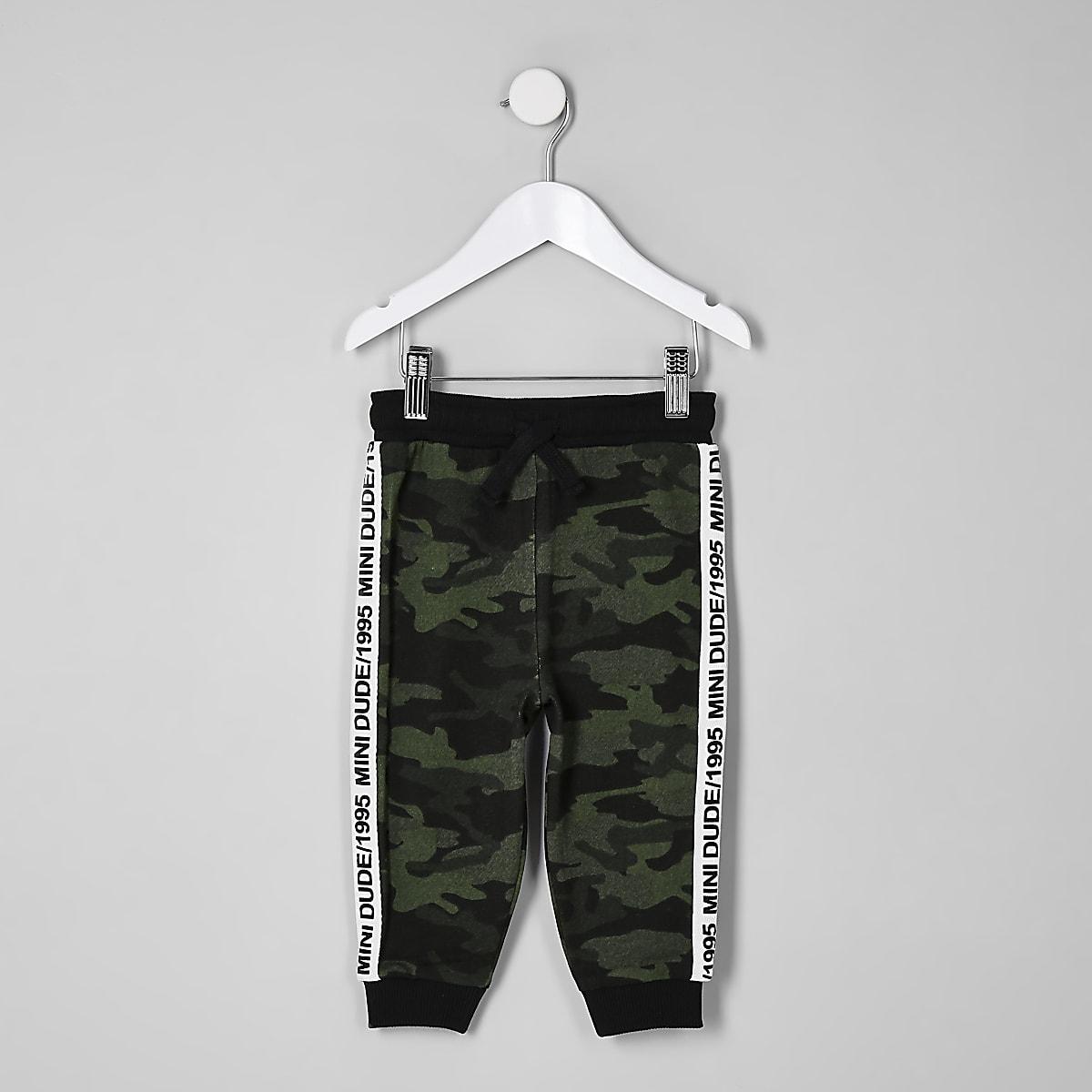 Pantalon de jogging camouflage kaki avec bandes latérales mini garçon