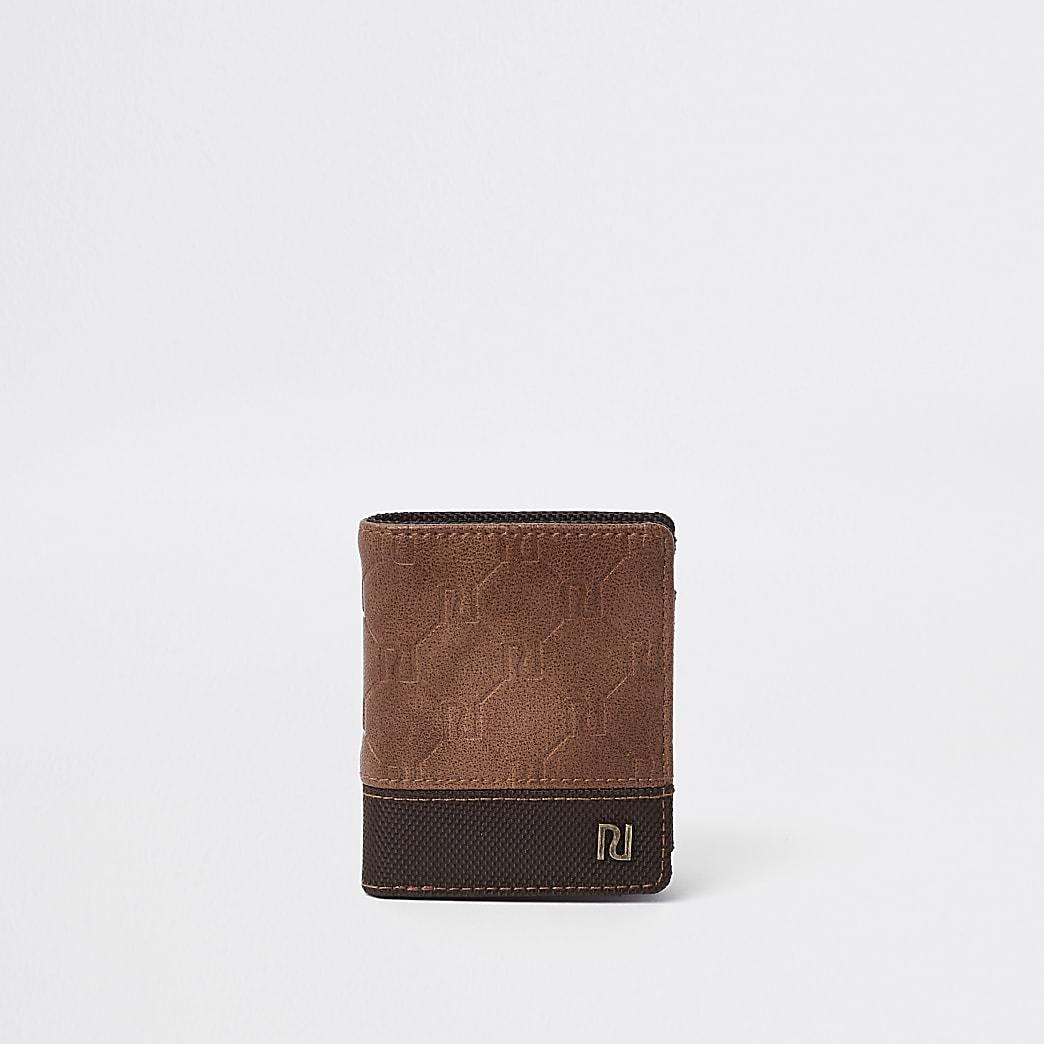 Boys light brown RI monogram wallet