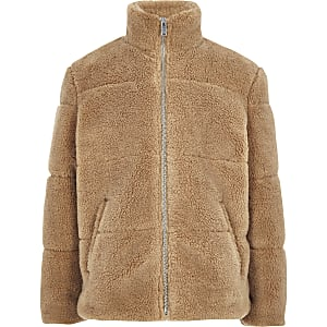 Boys light brown borg puffer jacket