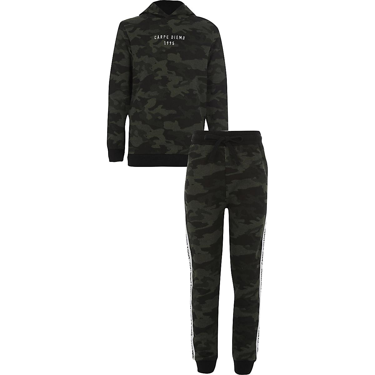 Boys khaki 'carpe diem' camo hoodie outfit