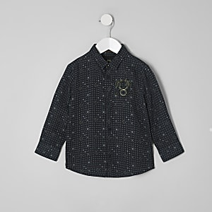 RI 30 mini boys navy tile print shirt