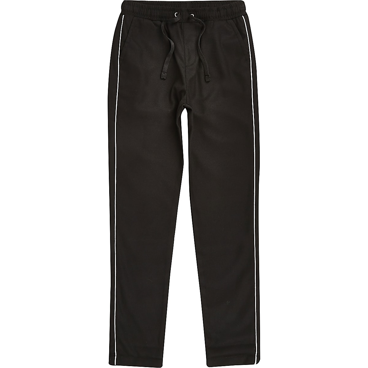 Boys black piped smart trousers