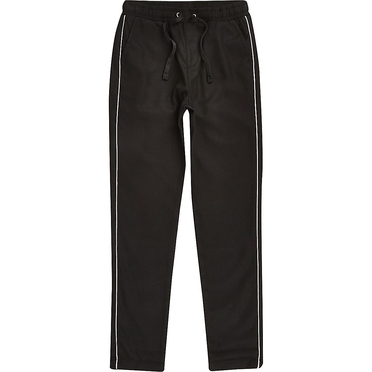 Boys black piped smart pants