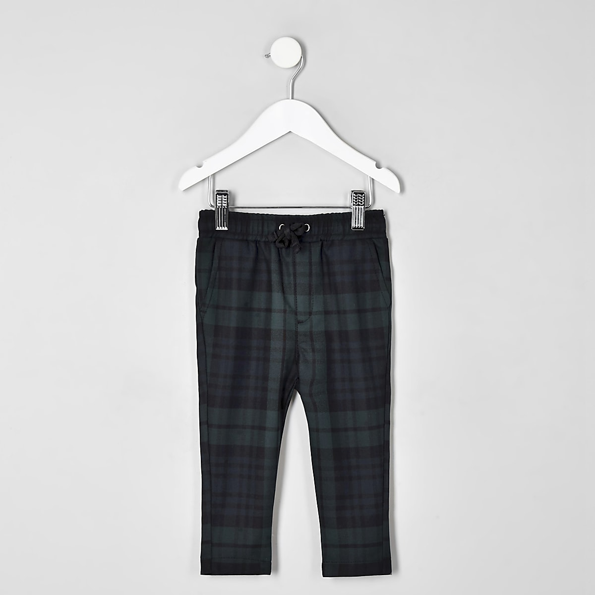 Mini boys navy check pants
