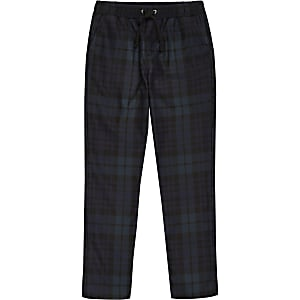 Boys navy tartan check trousers
