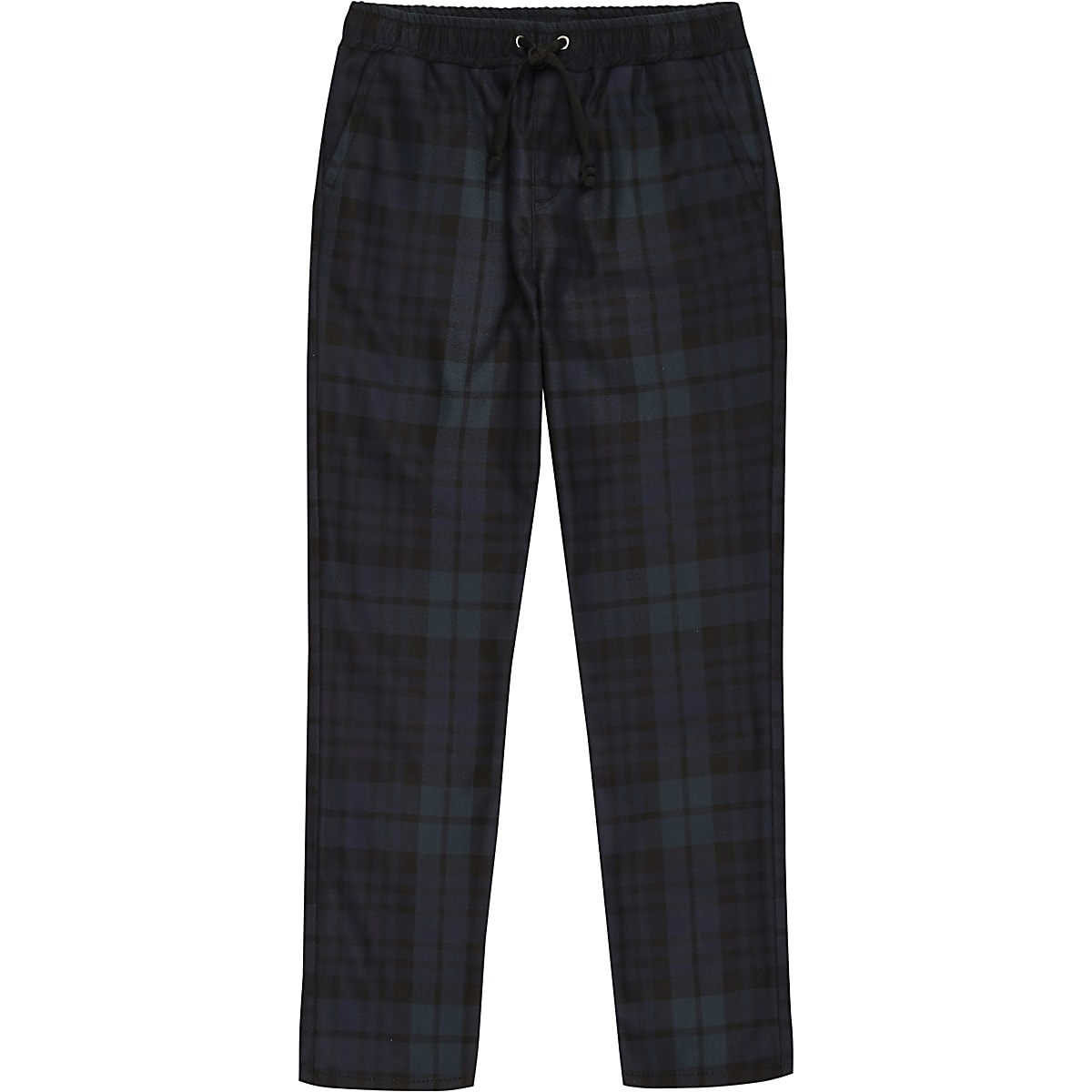 Boys navy tartan check trousers