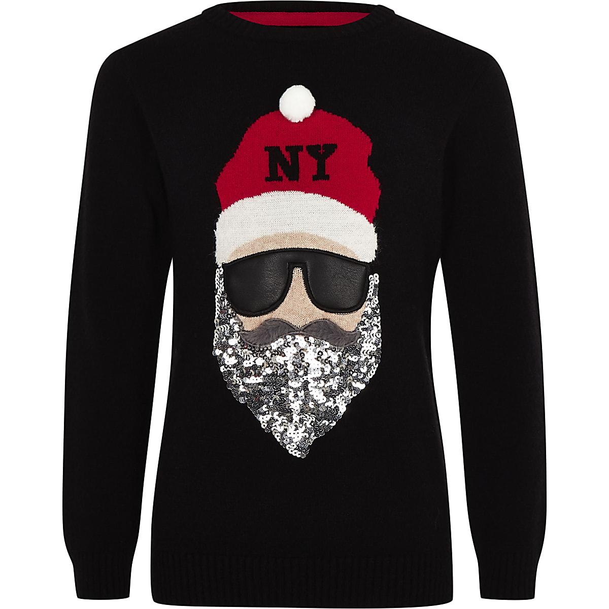 Zwarte Kersttrui.Zwarte Kersttrui Met Santa Claus Voor Kinderen Vesten Pullovers