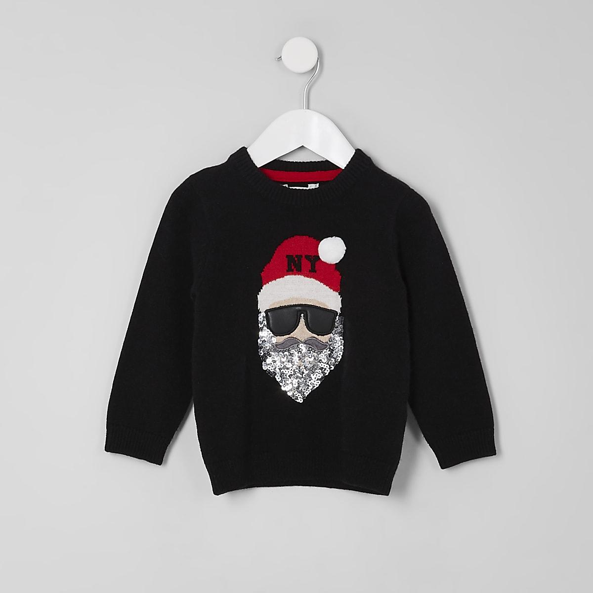 Zwarte Kersttrui.Mini Zwarte Kersttrui Met Santa Claus Voor Kinderen Babyjongens