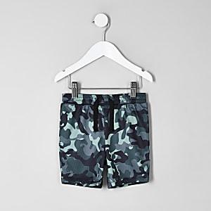 Mini - Blauwe short met camouflageprint voor jongens