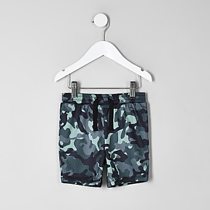 Mini boys blue camo print shorts
