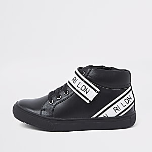 Boys black 'RI LDN' strap high top sneakers