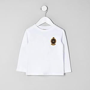 T-shirt blanc avec badge mini garçon