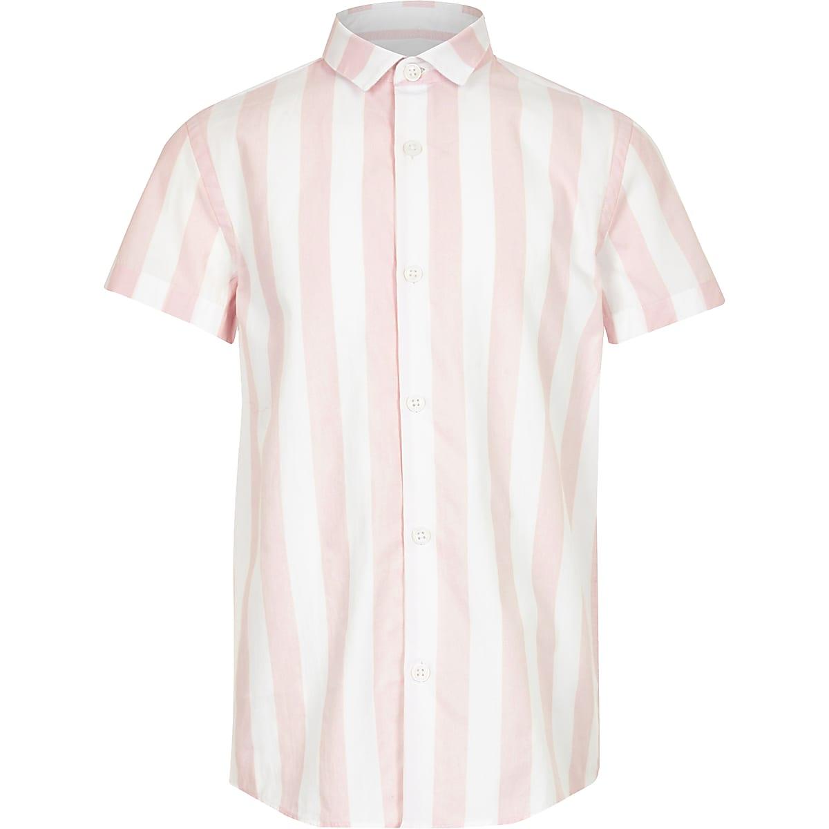Chemise en popeline à rayures rose garçon