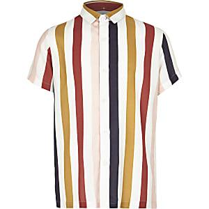 Wit overhemd met kraag met verschillende verticale strepen voor jongens
