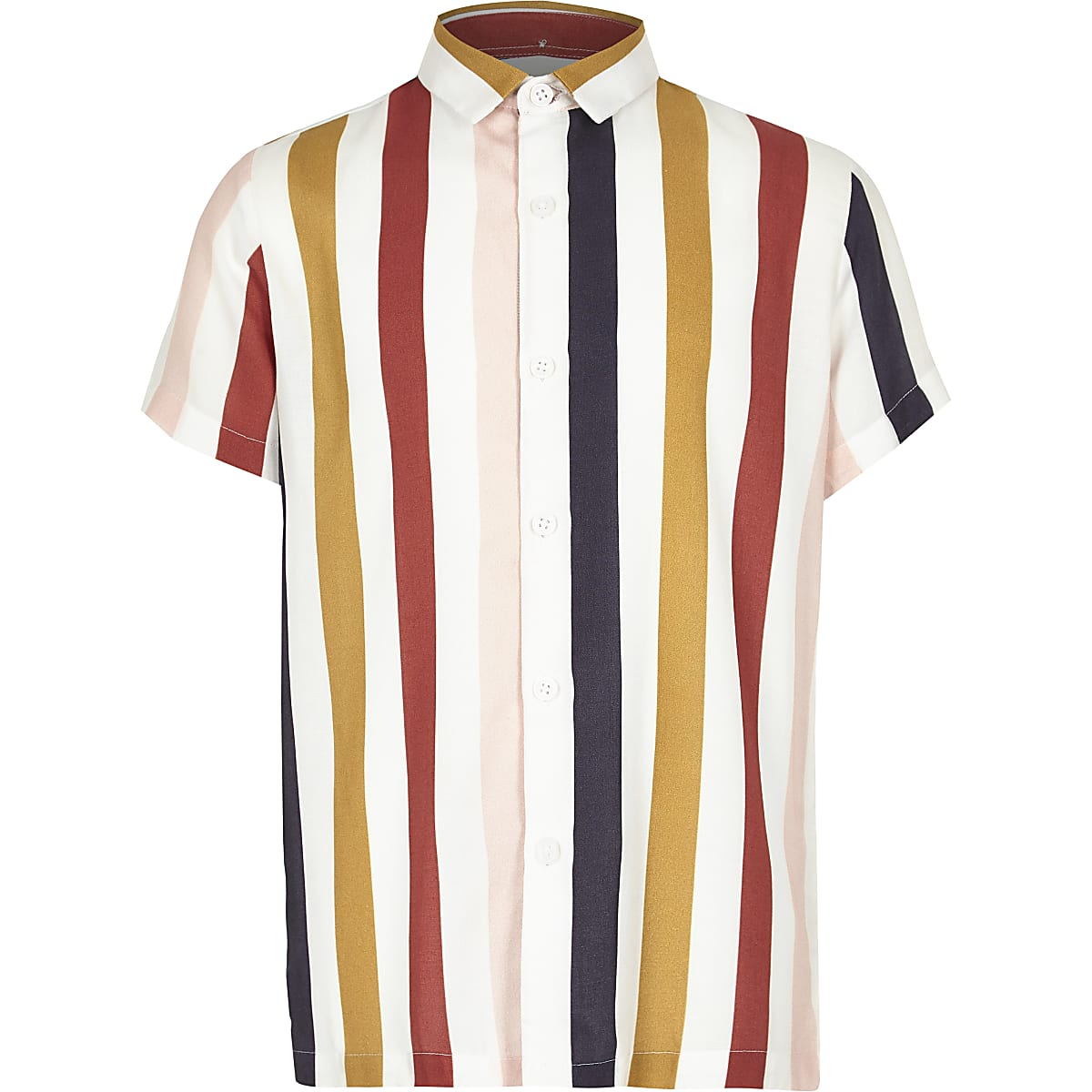 Boys white verticle multi stripe collar shirt