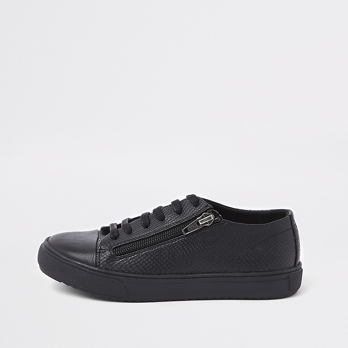 Boys black sole zip side lace-up trainers