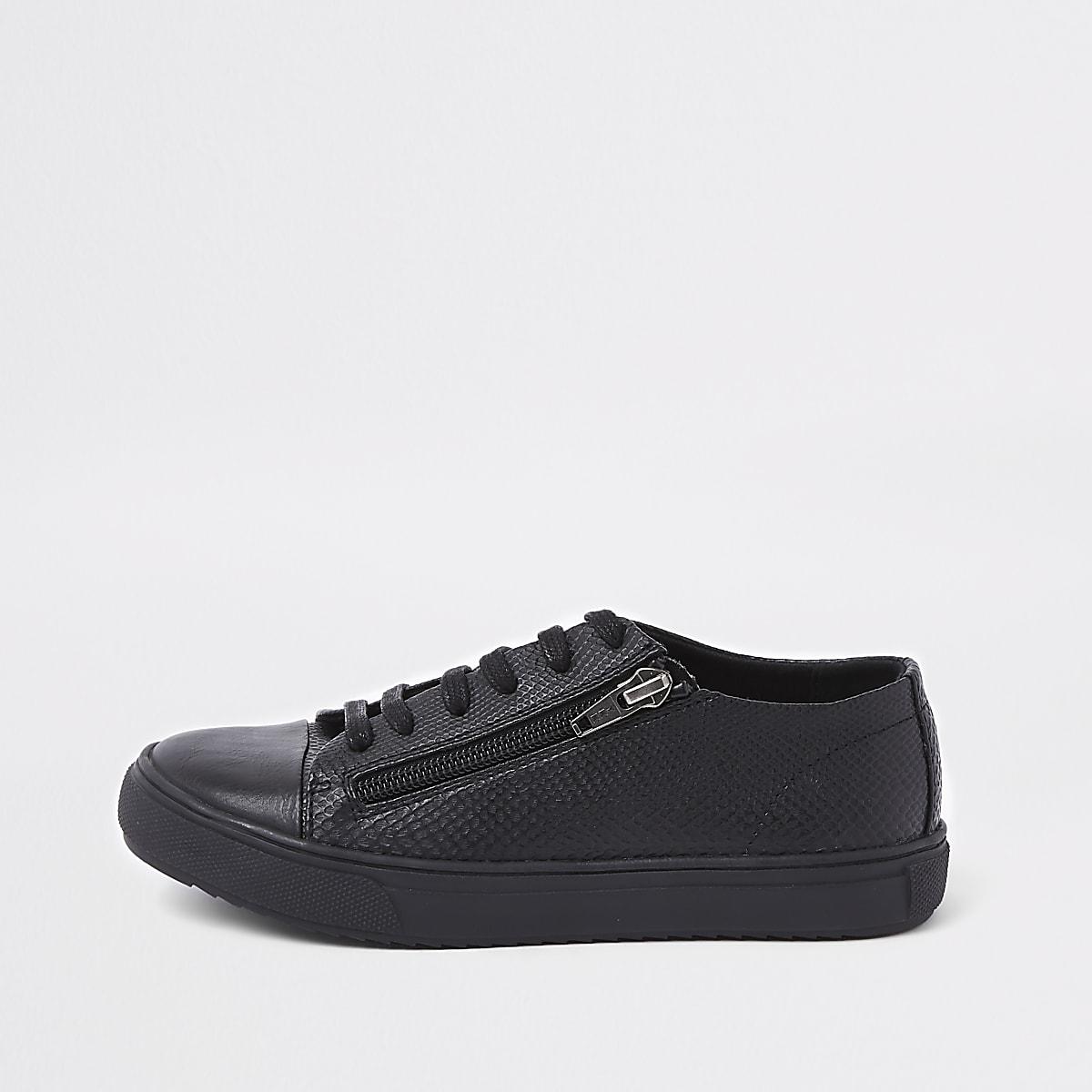 Boys black sole zip side lace-up sneakers