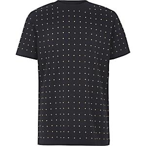 Marineblaues T-Shirt mit Nieten