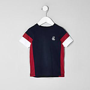 Mini - Marineblauw T-shirt met kleurvlakkenprint voor jongens