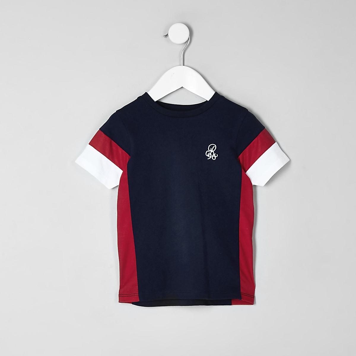 Mini boys navy block print T-shirt