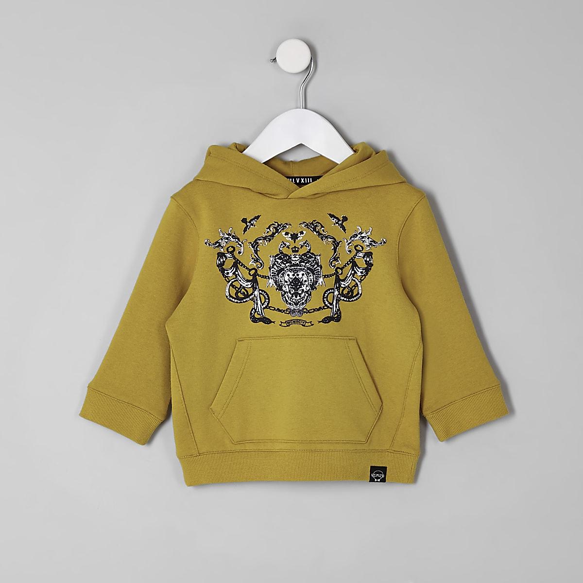 Mini boys yellow baroque print hoodie