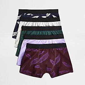 Multipack paarse boxershorts met verenprint voor jongens