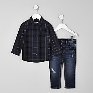 Mini boys green check shirt and jeans outfit