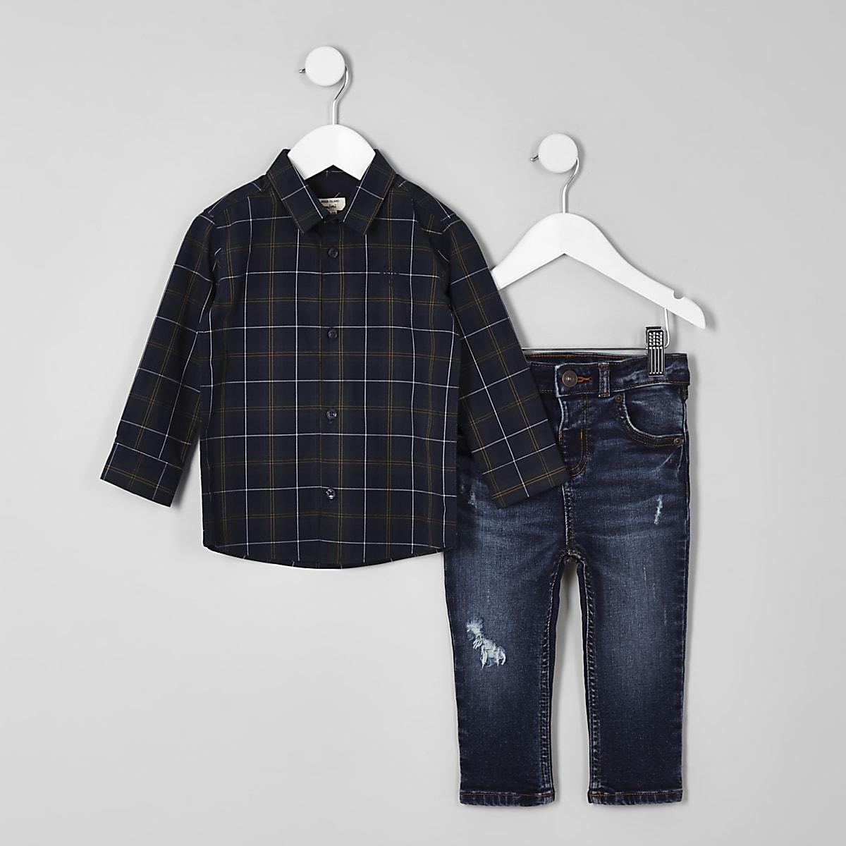4e3792e8a Mini boys green check shirt and jeans outfit - Baby Boys Outfits - Mini Boys  - boys