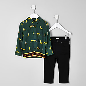 Mini boys green print shirt and jeans outfit