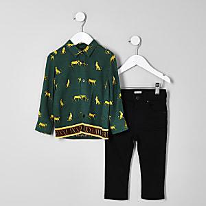 Ensemble jean et chemise imprimée verte mini garçon