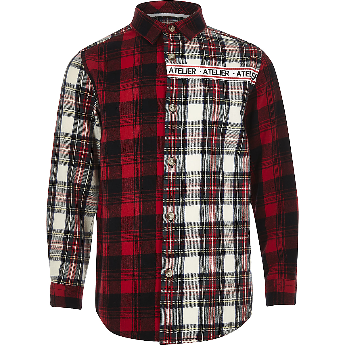 Boys red 'Atelier' check shirt