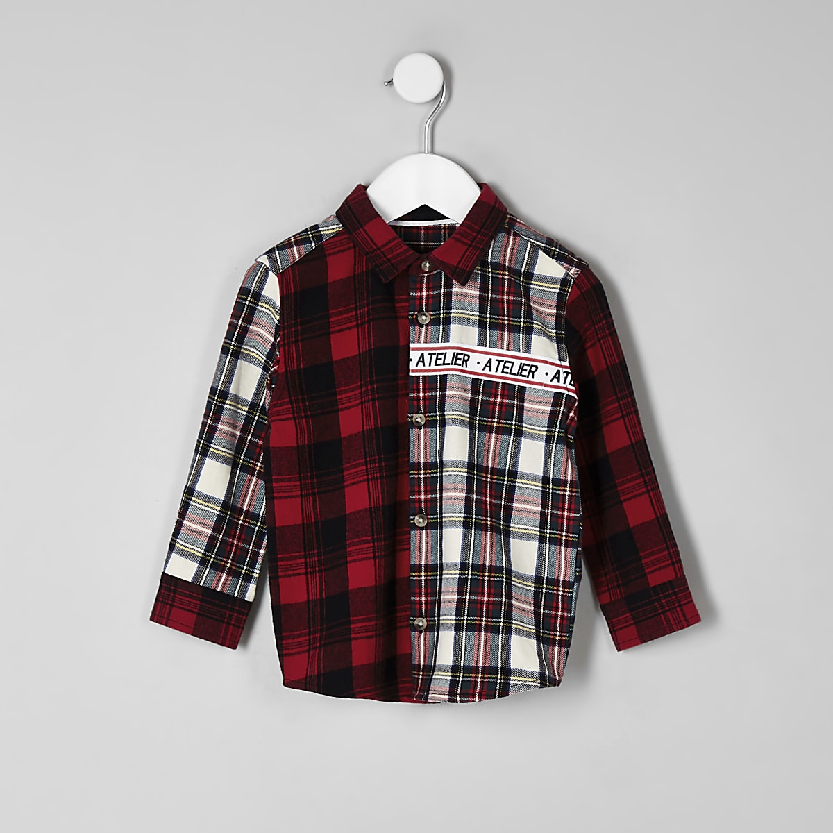 Mini boys red 'Atelier' check shirt