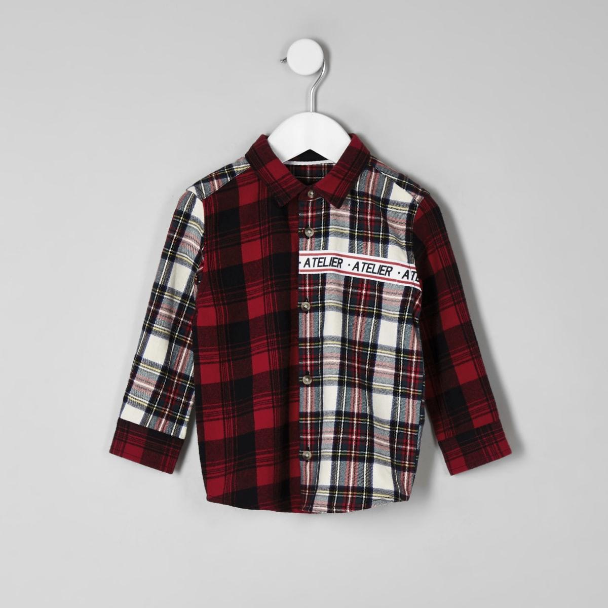 Mini boys red 'Atelier' check shirt