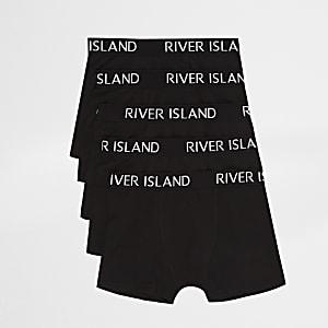 Multipack zwarte boxershorts met RI-logo voor jongens