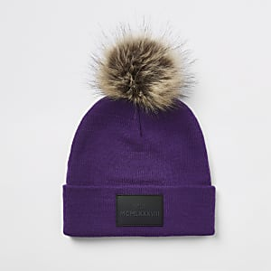 Boys purple faux fur pom pom beanie hat