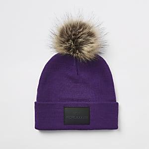 Bonnet violet à pompon en fausse fourrure pour garçon