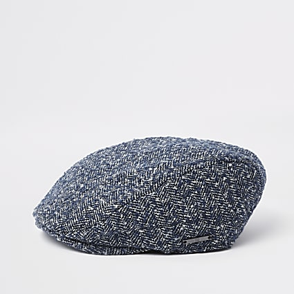 Boys blue herringbone flat cap