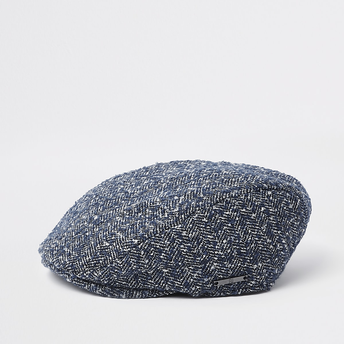 Boys blue herringbone flat cap