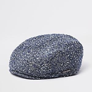 Mini boys blue herringbone flat peak cap