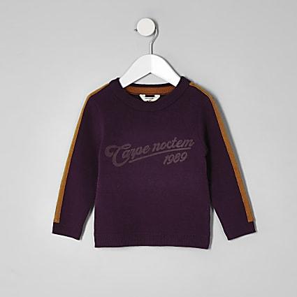 Mini boys purple 'carpe diem' tape jumper