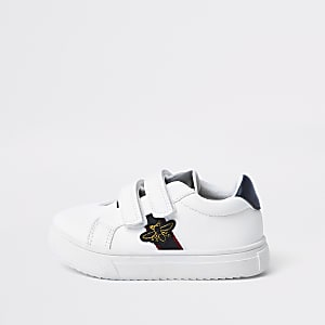 Mini boys white bee plimsolls