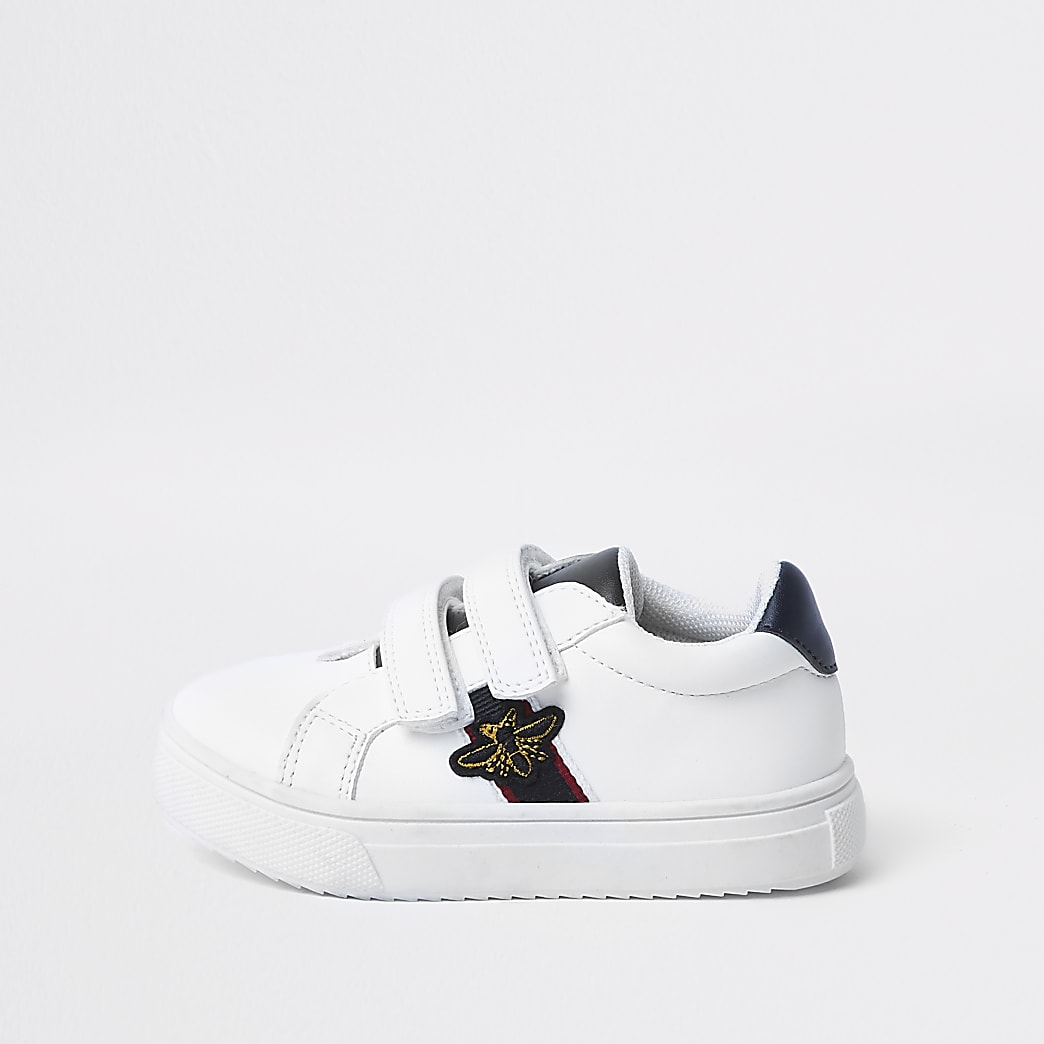 Mini boys white bee trainers